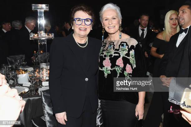 Billie Jean King and Glenn Close attend the Elton John AIDS Foundation Commemorates Its 25th Year And Honors Founder Sir Elton John During New York...