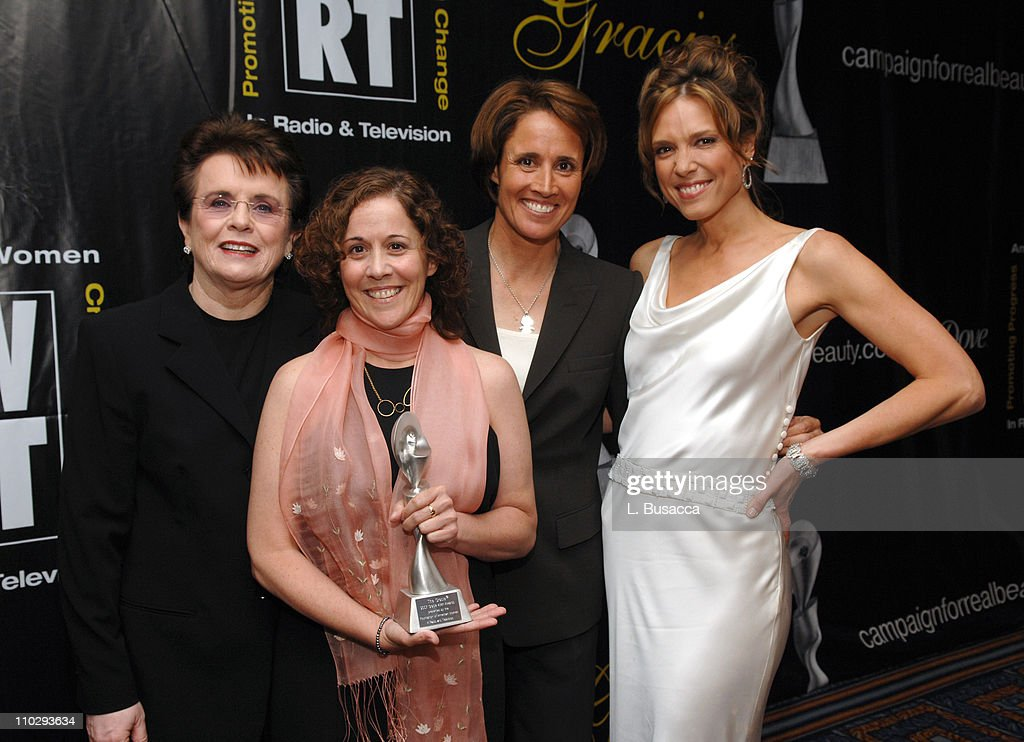 Billie Jean King and Margaret Grossi winners for Outstanding Portrait/Biography with Mary Carillo and Hannah Storm