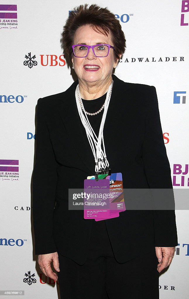 <a gi-track='captionPersonalityLinkClicked' href=/galleries/search?phrase=Billie+Jean+King&family=editorial&specificpeople=93147 ng-click='$event.stopPropagation()'>Billie Jean King</a> attends the <a gi-track='captionPersonalityLinkClicked' href=/galleries/search?phrase=Billie+Jean+King&family=editorial&specificpeople=93147 ng-click='$event.stopPropagation()'>Billie Jean King</a> Leadership Initiative Gala at Powerhouse at The American Museum of Natural History on November 19, 2014 in New York City.