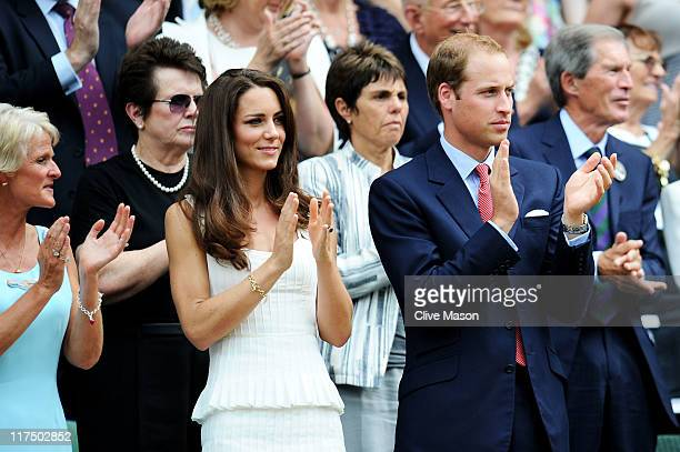 Billie Jean King Catherine Duchess of Cambridge and Prince William Duke of Cambridge attend the fourth round match between Andy Murray of Great...
