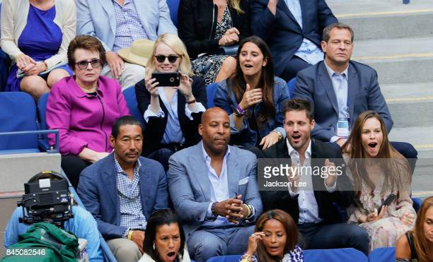 Billie Jean King Emma Stone Hilary Swank and Philip Schneider attend the 2017 US Open Women's Finals at Arthur Ashe Stadium on September 9 2017 in...