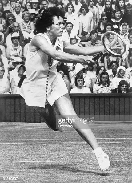 Billie Jean King in action in women's singles semifinals against Australia's Evonne Goolagong King won 63 57 and 63