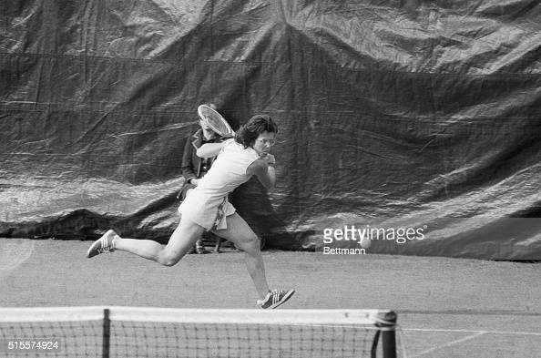 Billie Jean King is in a hurry to get to the ball during her 9/4 match against Rosie Casals at the US Open tennis championships Gunning for her...