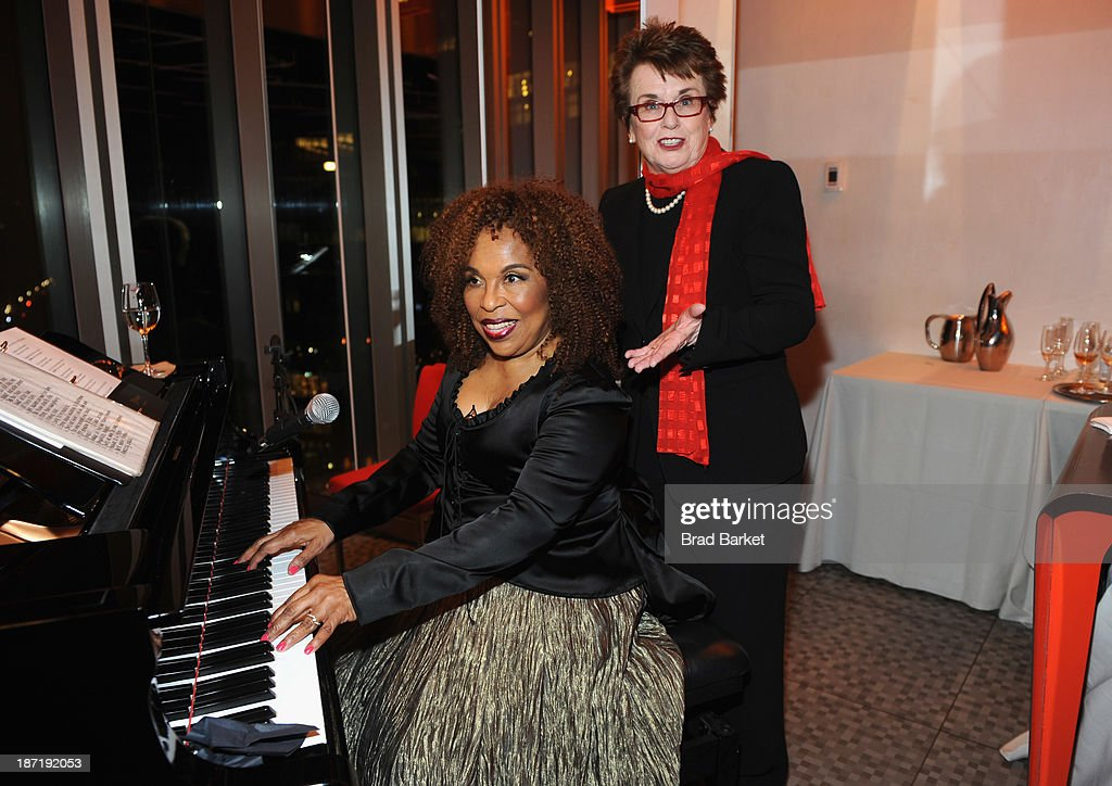 <a gi-track='captionPersonalityLinkClicked' href=/galleries/search?phrase=Billie+Jean+King&family=editorial&specificpeople=93147 ng-click='$event.stopPropagation()'>Billie Jean King</a> is seen with Grammy award-winning singer, songwriter <a gi-track='captionPersonalityLinkClicked' href=/galleries/search?phrase=Roberta+Flack&family=editorial&specificpeople=235444 ng-click='$event.stopPropagation()'>Roberta Flack</a> as she gives a special performance at the Women's Sports Foundation's 70th Birthday Party For <a gi-track='captionPersonalityLinkClicked' href=/galleries/search?phrase=Billie+Jean+King&family=editorial&specificpeople=93147 ng-click='$event.stopPropagation()'>Billie Jean King</a> at the Museum of Art and Design on November 6, 2013 in New York City.