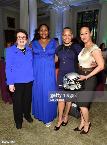Billie Jean King Kym Hampton Lisa Borders and Collette Smith attend the Women's Sports Foundation 45th Anniversary of Title IX celebration at the...