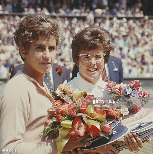 Billie Jean King of the United States and Maria Bueno of Brazil during the Women's Singles Final match at the Wimbledon Lawn Tennis Championship on...