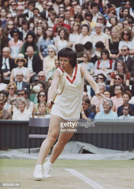 Billie Jean King of the United States during the Women's Quarter Final match against Olga Morozova at the Wimbledon Lawn Tennis Championship on 2...