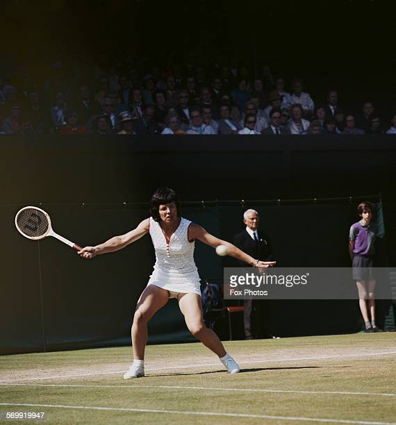 Billie Jean King of the United States during the Women's Singles Quarter Final match at the Wimbledon Lawn Tennis Championship on 1 July 1974 at the...