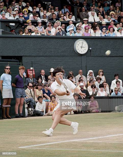 Billie Jean King of the United States during the Women's Singles Final match against Ann Jones at the Wimbledon Lawn Tennis Championship on 4 July...