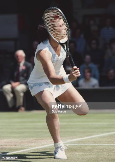 Billie Jean King of the United States returns against Chris EvertLloyd in their Women's Singles Semi Final match at the Wimbledon Lawn Tennis...