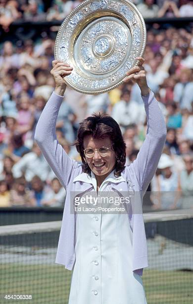 Billie Jean King of the United States with the trophy after winning the Ladies' Singles Final at Wimbledon defeating Chris Evert in straight sets on...