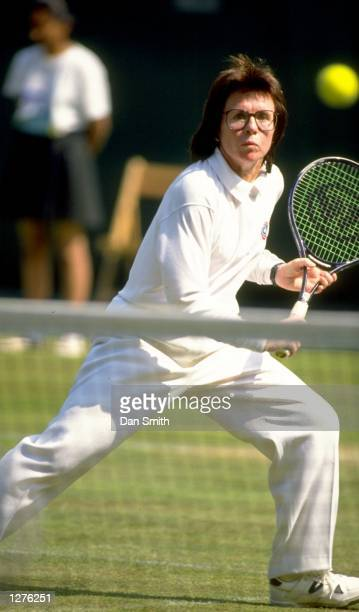 Billie Jean King of the USA plays a backhand return during a DOW Classic match in Birmingham England Mandatory Credit Dan Smith/Allsport
