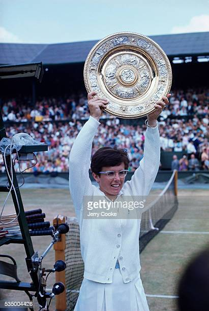 Billie Jean King parades her trophy after winning the women's singles finals at the 1968 Wimbledon championships