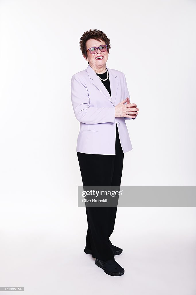 This image has been retouched) Billie Jean King poses for an exclusive photoshoot during the WTA 40 Love Celebration on Middle Sunday of the Wimbledon Lawn Tennis Championships at the All England Lawn Tennis and Croquet Club at Wimbledon on June 30, 2013 in London, England.