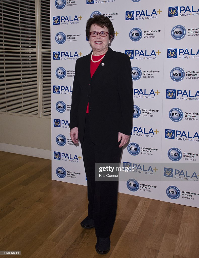<a gi-track='captionPersonalityLinkClicked' href=/galleries/search?phrase=Billie+Jean+King&family=editorial&specificpeople=93147 ng-click='$event.stopPropagation()'>Billie Jean King</a> poses for photos during the Active Play Video Game Demonstration at Smithsonian American Art Museum & National Portrait Gallery on April 30, 2012 in Washington, DC.