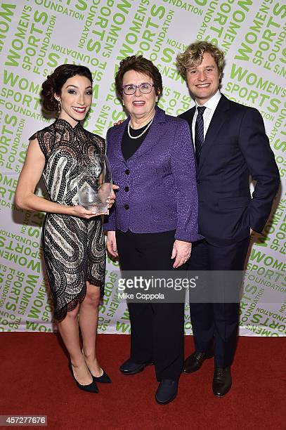 Billie Jean King presents Olympic gold medal winning ice dancer Meryl Davis with the Sportswoman of the Year Award onstage during the Women's Sports...