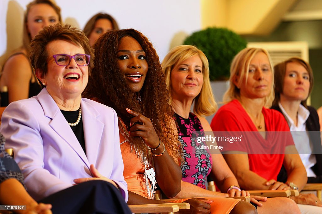 <a gi-track='captionPersonalityLinkClicked' href=/galleries/search?phrase=Billie+Jean+King&family=editorial&specificpeople=93147 ng-click='$event.stopPropagation()'>Billie Jean King</a>, <a gi-track='captionPersonalityLinkClicked' href=/galleries/search?phrase=Serena+Williams+-+Tennis+Player&family=editorial&specificpeople=171101 ng-click='$event.stopPropagation()'>Serena Williams</a>, <a gi-track='captionPersonalityLinkClicked' href=/galleries/search?phrase=Chris+Evert+-+Tennis+Player&family=editorial&specificpeople=206410 ng-click='$event.stopPropagation()'>Chris Evert</a>, <a gi-track='captionPersonalityLinkClicked' href=/galleries/search?phrase=Martina+Navratilova&family=editorial&specificpeople=201523 ng-click='$event.stopPropagation()'>Martina Navratilova</a> and and <a gi-track='captionPersonalityLinkClicked' href=/galleries/search?phrase=Justine+Henin&family=editorial&specificpeople=157479 ng-click='$event.stopPropagation()'>Justine Henin</a> sit on stage at the WTA 40 Love Celebration during Middle Sunday of the Wimbledon Lawn Tennis Championships at the All England Lawn Tennis and Croquet Club on June 30, 2013 in London, England.