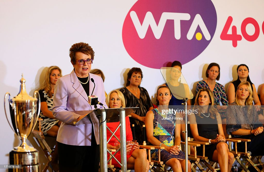 <a gi-track='captionPersonalityLinkClicked' href=/galleries/search?phrase=Billie+Jean+King&family=editorial&specificpeople=93147 ng-click='$event.stopPropagation()'>Billie Jean King</a> speaks at the WTA 40 Love Celebration during Middle Sunday of the Wimbledon Lawn Tennis Championships at the All England Lawn Tennis and Croquet Club on June 30, 2013 in London, England.