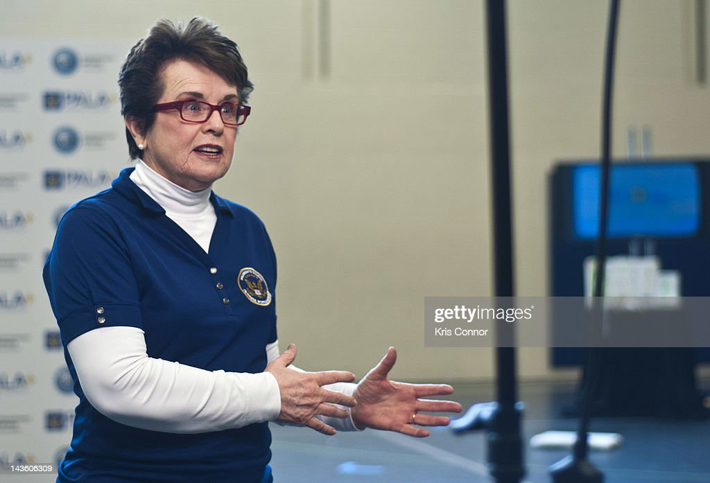 <a gi-track='captionPersonalityLinkClicked' href=/galleries/search?phrase=Billie+Jean+King&family=editorial&specificpeople=93147 ng-click='$event.stopPropagation()'>Billie Jean King</a> speaks during the Active Play Video Game Demonstration at Walker-Jones Education Campus on April 30, 2012 in Washington, DC.
