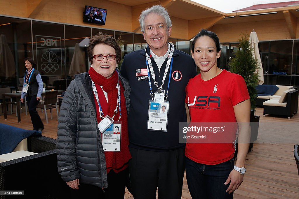 <a gi-track='captionPersonalityLinkClicked' href=/galleries/search?phrase=Billie+Jean+King&family=editorial&specificpeople=93147 ng-click='$event.stopPropagation()'>Billie Jean King</a>, US Deputy Secretary of State William Burns and U.S. Olympian <a gi-track='captionPersonalityLinkClicked' href=/galleries/search?phrase=Julie+Chu&family=editorial&specificpeople=677214 ng-click='$event.stopPropagation()'>Julie Chu</a> visit the USA House in the Olympic Village on February 22, 2014 in Sochi, Russia.