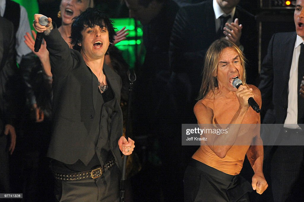 Billie Joe Armstrong (L) and Iggy & The Stooges perform onstage at the 25th Annual Rock and Roll Hall of Fame Induction Ceremony at the Waldorf=Astoria on March 15, 2010 in New York City.