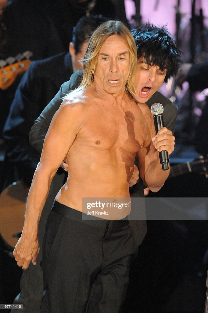 Billie Joe Armstrong (R) and Iggy & The Stooges perform onstage at the 25th Annual Rock and Roll Hall of Fame Induction Ceremony at the Waldorf=Astoria on March 15, 2010 in New York City.