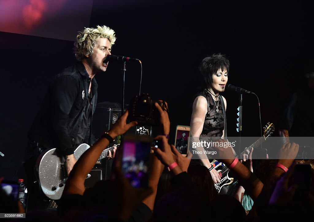 Billie Joe Armstrong and Joan Jett perform together at 'Geezer' Premiere - 2016 Tribeca Film Festival at Spring Studios on April 23, 2016 in New York City.