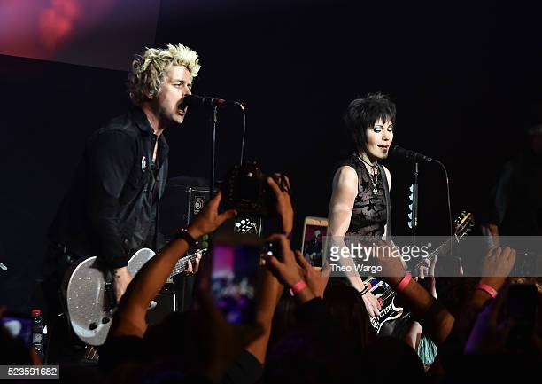 Billie Joe Armstrong and Joan Jett perform together at 'Geezer' Premiere 2016 Tribeca Film Festival at Spring Studios on April 23 2016 in New York...