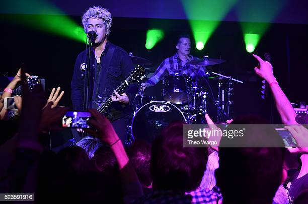 Billie Joe Armstrong and Tre Cool perform at 'Geezer' Premiere 2016 Tribeca Film Festival at Spring Studios on April 23 2016 in New York City