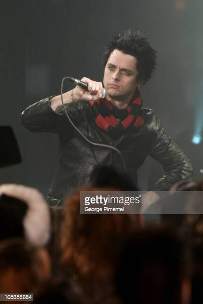Billie Joe Armstrong Green Day during Interview with Green Day at Musique PLus in Montreal Quebec Canada