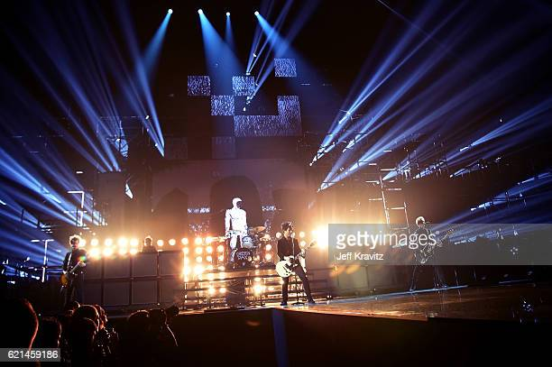 Billie Joe Armstrong Mike Dirnt and Tre Cool of Green Day perform on stage at the MTV Europe Music Awards 2016 on November 6 2016 in Rotterdam...