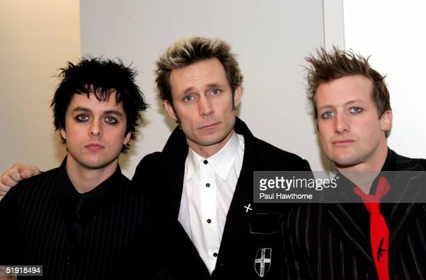 Billie Joe Armstrong Mike Dirnt and Tre Cool of Green Day stop by Fuse's Daily Download at Fuse studios January 5 2005 in New York City