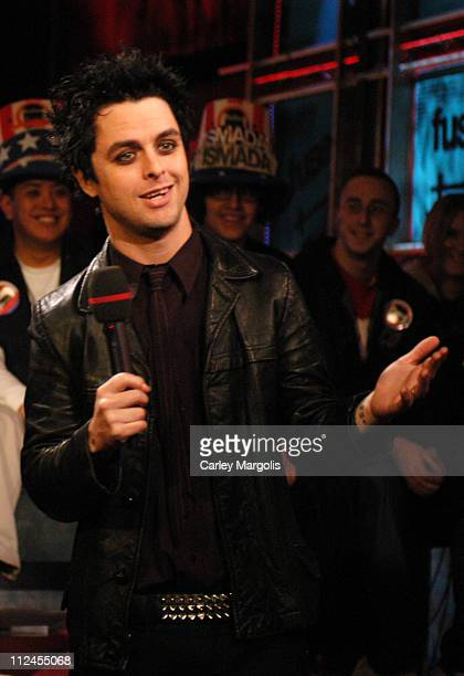 Billie Joe Armstrong of Green Day during Green Day and Zachary Levi Visit Fuse's 'Daily Download' November 1 2004 at Fuse Studios in New York City...