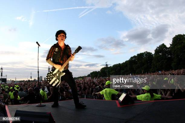 Billie Joe Armstrong of Green Day performs on stage at the Barclaycard Presents British Summer Time Festival in Hyde Park on July 1 2017 in London...