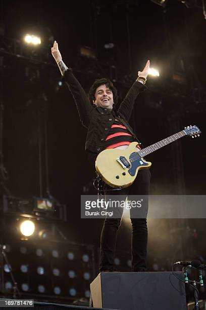 Billie Joe Armstrong of Green Day performs on stage in concert at Emirates Stadium on June 1 2013 in London England