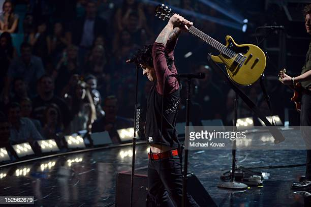 Billie Joe Armstrong of Green Day performs onstage during the 2012 iHeartRadio Music Festival at the MGM Grand Garden Arena on September 21 2012 in...
