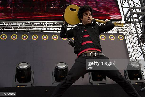 Billie Joel of Greenday performs during the Pinkpop festival in Landgraaf on June 16 2013 AFP PHOTO / ANP / KIPPA PAUL BERGEN netherlands out