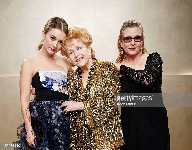 Billie Lourd Carrie Fisher and Debbie Reynolds pose during TNT's 21st Annual Screen Actors Guild Awards at The Shrine Auditorium on January 25 2015...