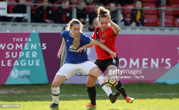 Billie Murphy of Sheffield FC Ladies and Olivia Chance of Everton Ladies during the match between Sheffield FC Ladies and Everton Ladies on March 12...