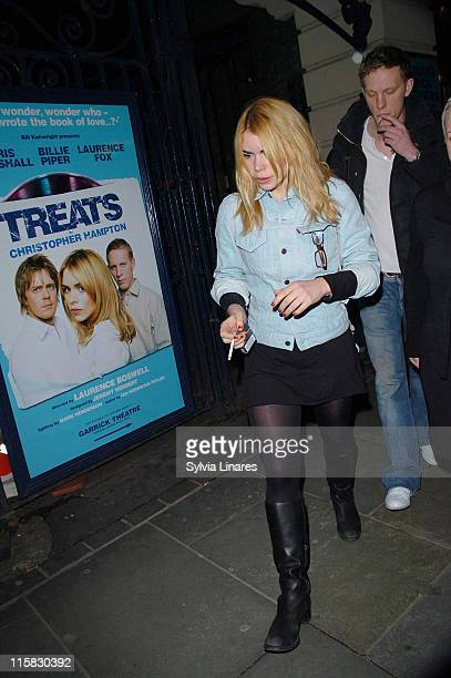 Billie Piper and Laurence Fox during Billie Piper Departs the Garrick Theatre February 28 2007 at Garrick Theatre in London Great Britain
