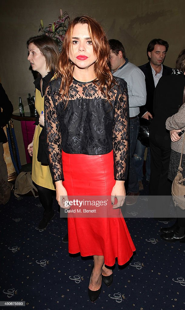<a gi-track='captionPersonalityLinkClicked' href=/galleries/search?phrase=Billie+Piper&family=editorial&specificpeople=157486 ng-click='$event.stopPropagation()'>Billie Piper</a> attends an after party following the press night performance of 'Strangers On A Train' at the Cafe de Paris on November 19, 2013 in London, England.