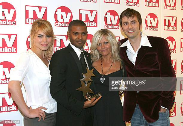 Billie Piper Noel Clarke Camille Coduri and David Tennant with award for best loved Drama 'Doctor Who'