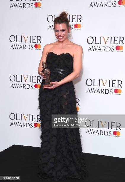 Billie Piper winner of Best Actress for 'Yerma' poses in the winners room at The Olivier Awards 2017 at Royal Albert Hall on April 9 2017 in London...