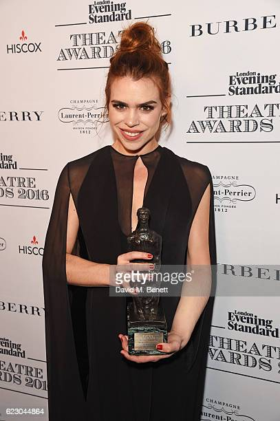 Billie Piper winner of the Natasha Richardson Award for Best Actress poses in front of the winners boards at The 62nd London Evening Standard Theatre...