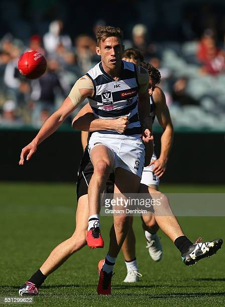 Billie Smedts of Geelong kicks during the round six VFL match between Geelong and Collingwood on May 14 2016 in Geelong Australia