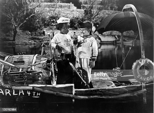 Billie Thomas as Buckwheat and Eugene Lee as Porky in 'Three Men in a Tub' an Our Gang comedy later known as The Little Rascals Original release...