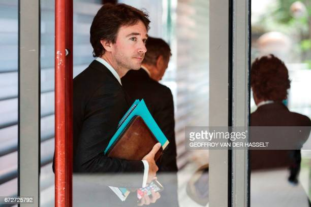 Group CEO's son French businessman Antoine Arnault leaves a press conference on April 25 2017 in Paris after the group announced that it planned to...