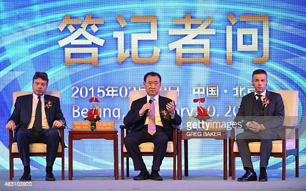 Wang Jianlin chairman of Wanda Group speaks during a press conference with Philippe Blatter president and CEO of sports marketing company Infront and...