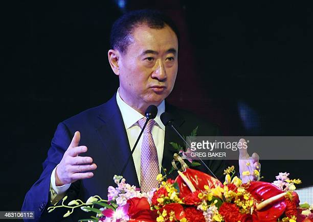 Wang Jianlin chairman of Wanda Group speaks at a ceremony in Beijing on February 10 2015 China's Wanda Group has agreed to buy Infront the Swiss...
