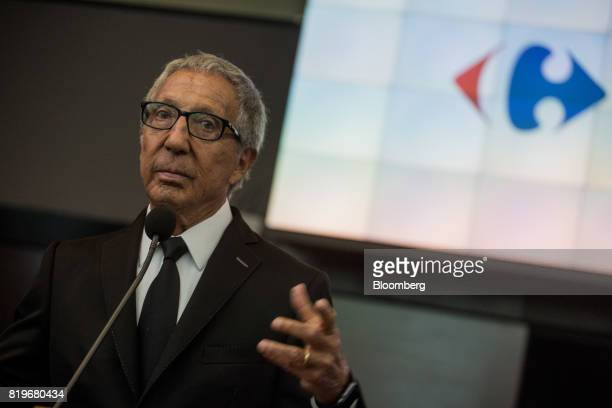 Billionaire Abilio Diniz pauses while speaking during the initial public offering of Atacadao SA the Brazilian unit of French retailer Carrefour SA...